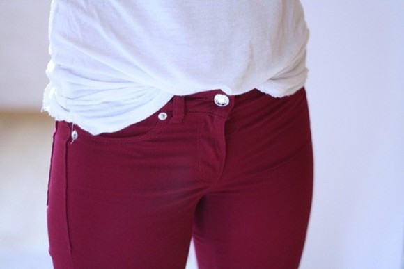 jeans red dark jeans bordeaured skinny jeans burgundy morone red denim winter pants