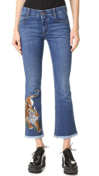 jeans embroidered dark tiger blue dark blue
