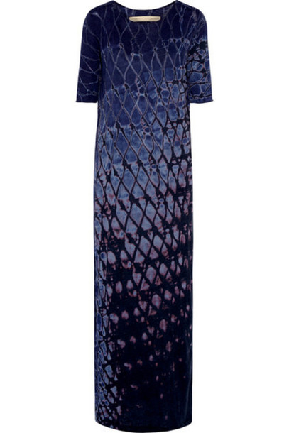 Raquel Allegra - Signature Tie-dyed Cotton-blend Jersey Maxi Dress - Dark purple