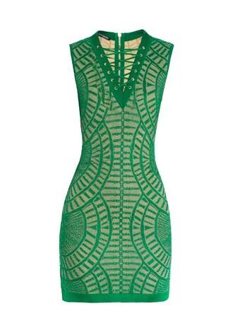 dress mini dress mini knit geometric lace green