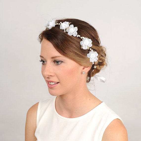 Wedding Flower Headband, White Floral Crown, Woodland Wreath ...