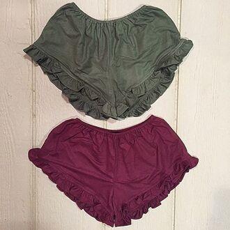 shorts ruffle shorts red ruffle shorts burgundy burgandy shorts grunge bogo boho boho chic fall outfits high waisted shorts ruffled underwear