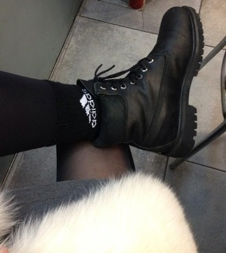 shoes boots black black shoes grunge hipster combat boots socks