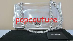 0c03af4f9a42 Chanel Naked 2 55 Flap Bag Chain PVC Clear Silver SHW Medium CC Logo Tote