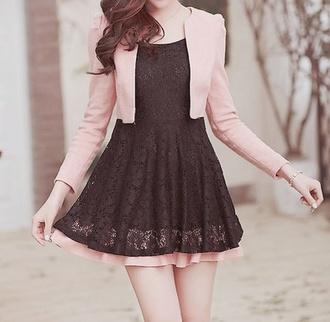 dress pink sweater korea fashion kawaii black dress