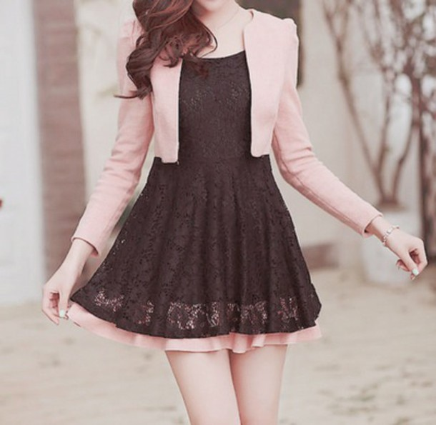 Dress Pink Sweater Korean Fashion Fashion Kawaii Black Dress Wheretoget