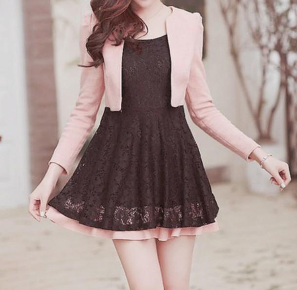 dress pink sweater korean fashion fashion kawaii black dress