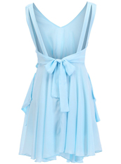 dress,blue,cut-out,bow,pleated,summer