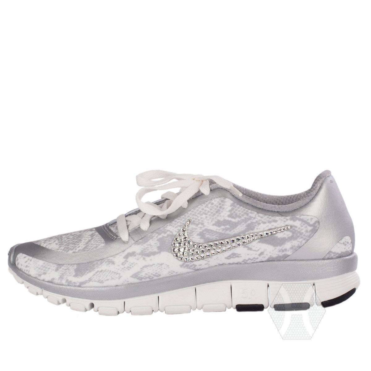 6233a88e6183c Women's Nike Free 5.0 v4 in White/Grey Snakeskin with Swarovski crystal  detail