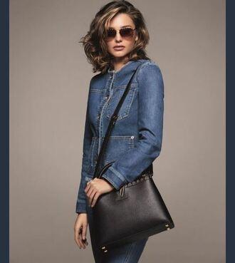 jacket denim jacket miranda kerr purse editorial