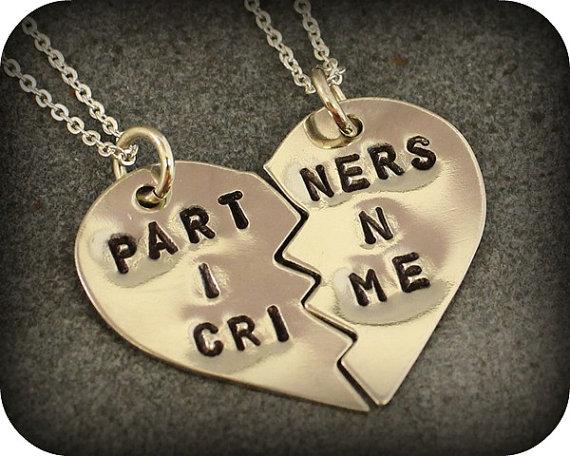 Partners in crime necklaces  best friend jewelry par sometimestwice