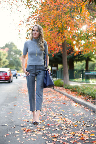 the classy cubicle blogger bag jewels grey sweater navy pants office outfits