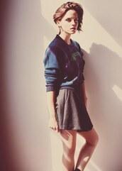 skirt,emma watson,shirt,sweater