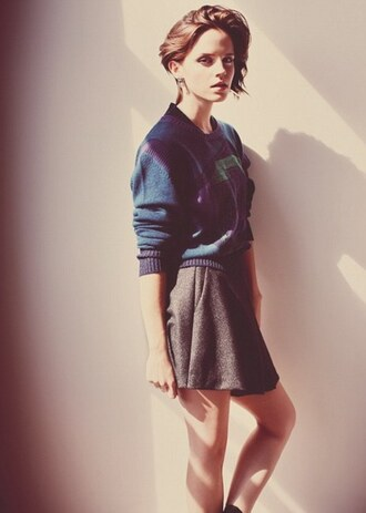 skirt emma watson shirt sweater
