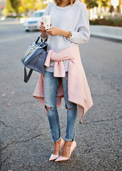 jeans,jacket,sweater,heels,pink heels,high heels,shoes,jersey,coat,ripped jeans,swimwear,cardigan,shirt,bag,style,fashion,blue jeans,white,kayture