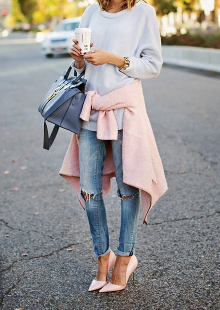 jeans jacket sweater heels pink heels high heels shoes jersey coat ripped jeans swimwear cardigan shirt bag ripped jeans style fashion blue jeans white kayture