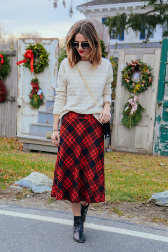 prosecco and plaid blogger skirt shoes sunglasses tartan skirt red skirt knitted sweater sweater bag make-up jewels