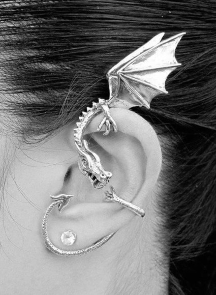 grey jewels jewels dragon boucle d'oreille earrings