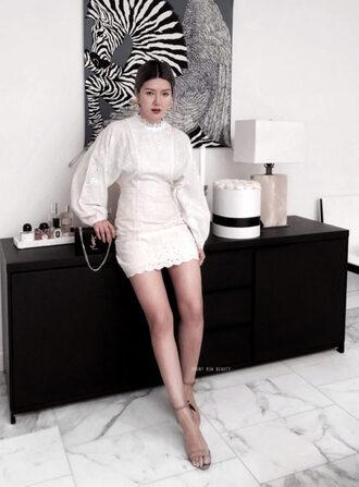 frontrowbeauty blogger dress shoes jewels bag ysl bag white dress sandals