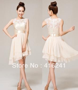 chiffon dress cream dress short dress homecoming dress dress