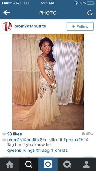 dress prom dress champagne dress lovely dress gold mermaid prom dress