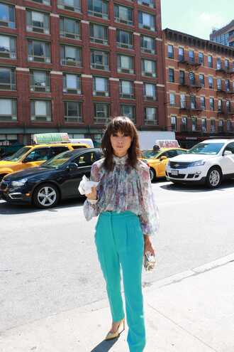 caradisclothed blogger blouse pants teal