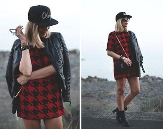 dress red dress hat biker jacket