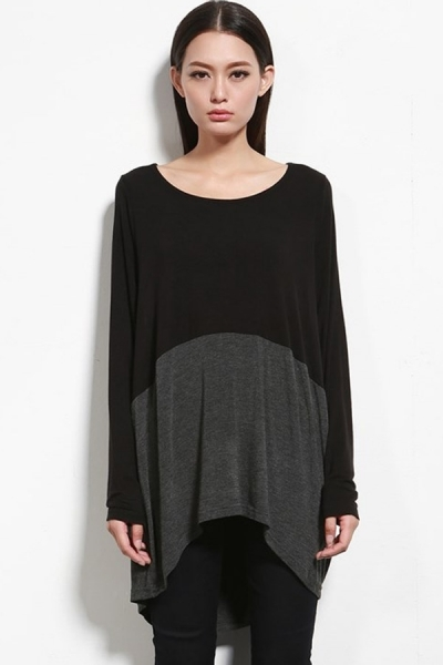 Color block Paneled High-low Tee - OASAP.com