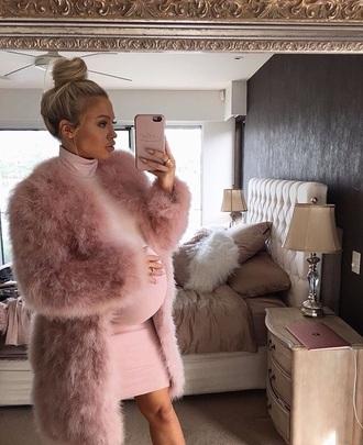 coat tammyhembrow pink faux fur fur coat pink fur coat