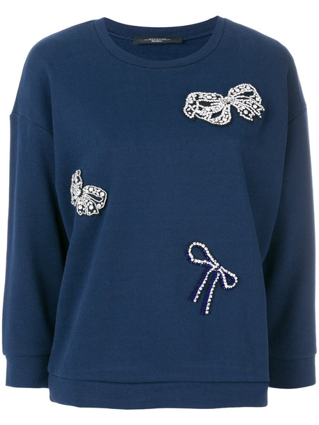 WEEKEND BY MAX MARA sweater bow women embellished cotton blue