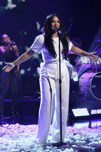 pants all white everything demi lovato wide-leg pants top wrap top