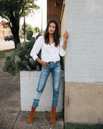 shirt tumblr white shirt denim jeans blue jeans patchwork boots brown boots shoes