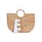 Jade tribe tasseled basckt bag - white round handles bag