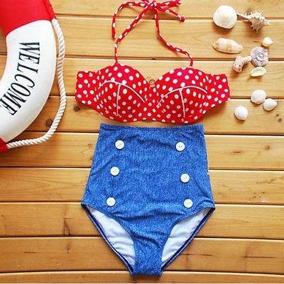 Retro Pinup Rockability Vintage High Waist Bikini Set