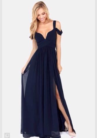 dress navy blue dress blue dress prom dress elegant dress long prom dress floaty dress
