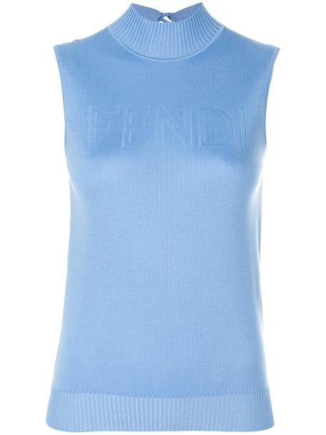 Fendi top knitted top sleeveless women blue silk