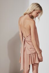 top,the fifth,cmeocollective,halter top,halter neck,two-piece,matching set,relaxed tee,peach,bnkr