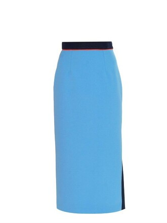 skirt pencil skirt midi blue