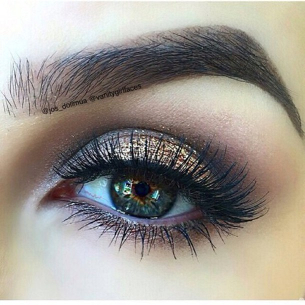 top make-up eyes brown golds eyelashes pretty tutorial