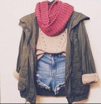 coat scarf tumblr tumblr clothes sweater jacket high waste jean shorts olive green beige sweater red scarf blue jean shorts