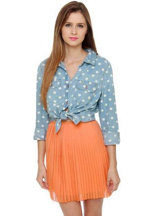 Cute Peach Skirt - Mini Skirt - Pleated Skirt - $39.00