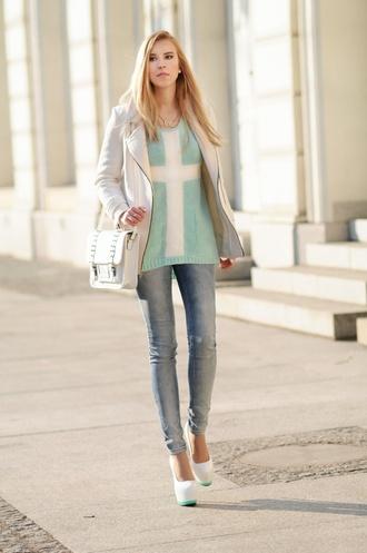 meri wild coat sweater jeans bag jewels shoes