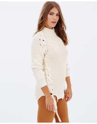 sweater lace detail fisherman knit lace up jumper lace up top cream jumper