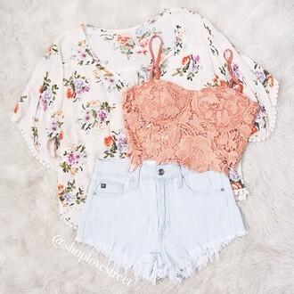 shorts top cardigan tank top blouse sweater floral cute cute cardigan kimono love lace lace top shirt white white shorts pink lace pink lace shirt pink lace crop top pink top pink shirt pink crop top denim