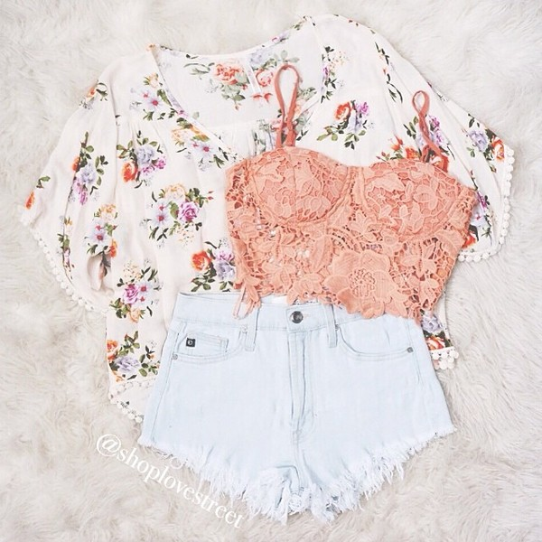shorts top cardigan tank top blouse sweater floral cute cute cardigan cardigan kimono love lace lace lace top shirt shirt white white shorts pink lace pink lace shirt pink lace crop top pink top pink shirt pink crop top denim