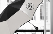 scarf,umbrella,chanel,black,classy,monochrome,white,fashion
