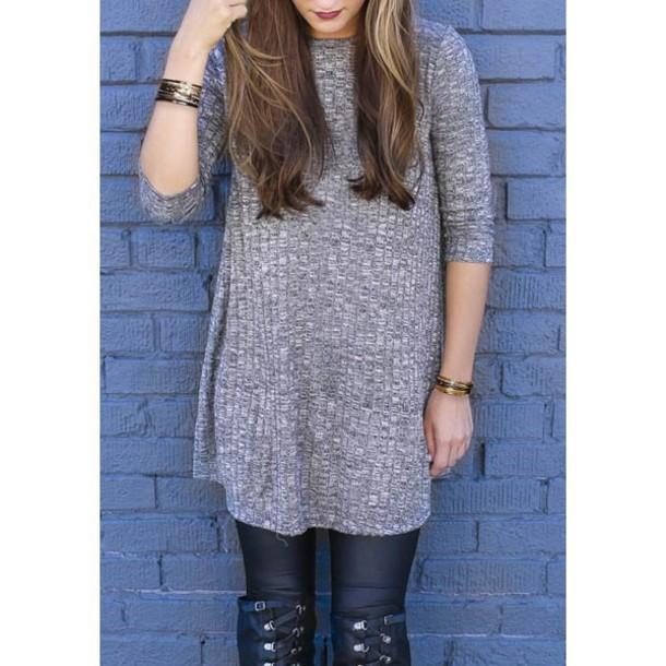 sweater, casual, sweater dress, grey sweater, grey, fall