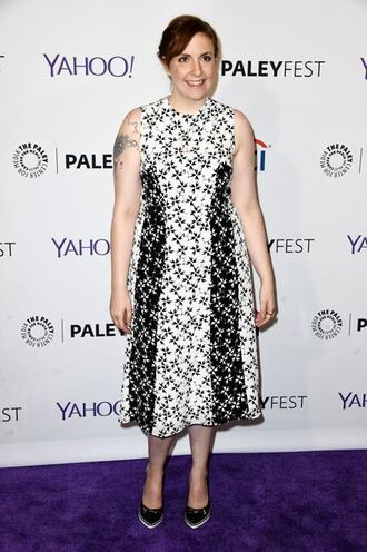 dress lena dunham floral dress black and white dress midi dress pumps high heel pumps celebrity style celebrity actress