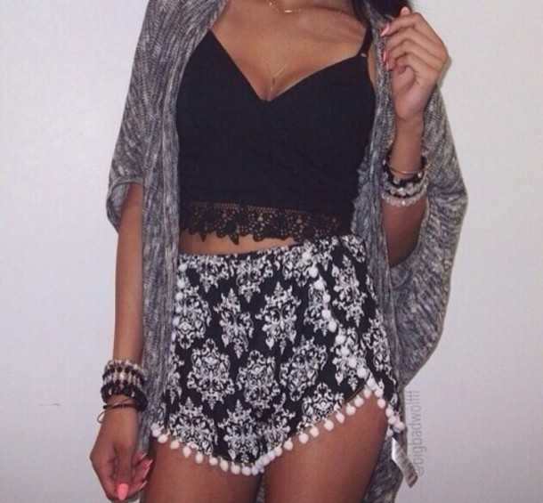 shorts black shorts tank top shirt crop tops cardigan dolphin shorts