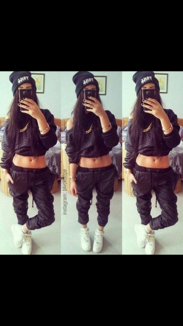 pants blouse shoes sweater black pullover leder black tracksuit want fashion loveit